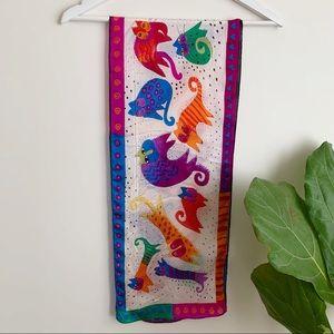 100% Silk Cat Print Multicolore Scarf